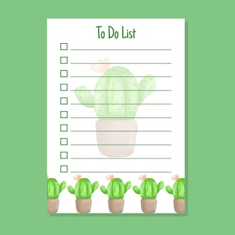 To do list template with cactus watercolor