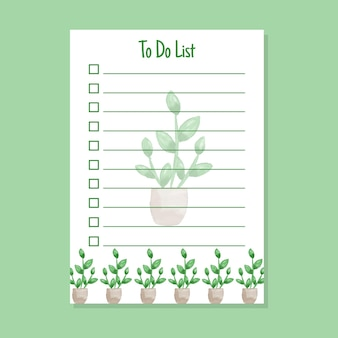 To do list template with floral watercolor