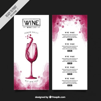 List with different types of wines