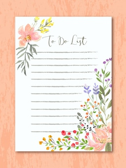 To do list with floral watercolor