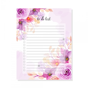 To do list with soft purple floral watercolor