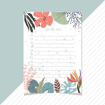 To do list with tropical summer floral