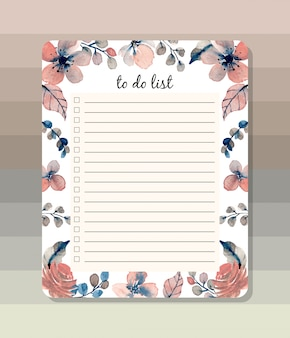 To do list with watercolor floral