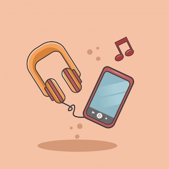 Listen to music on a cellphone using headphones