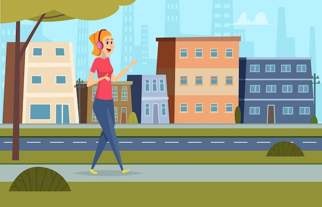 Listen music on street. outdoor character standing in urban landscape with headset and smartphone student leisure  background.