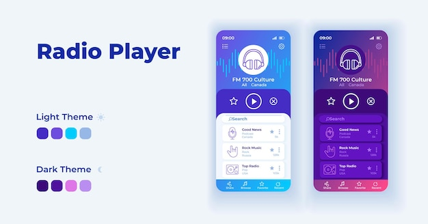 Listen radio on internet cartoon smartphone interface vector templates set. mobile app screen page day and dark mode design. online and offline ui for application. phone display with flat character