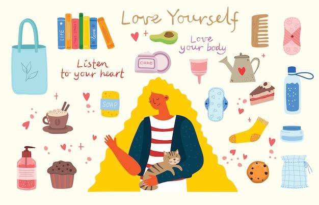 Слушай свое сердце. люби себя. векторная карта концепции образа жизни с текстом не забудьте полюбить себя в плоском стиле