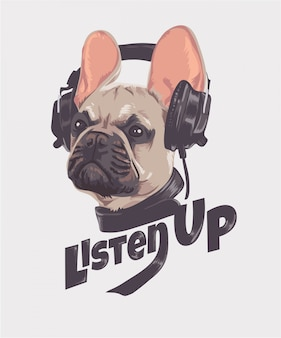 Listen up slogan with dog and headphone