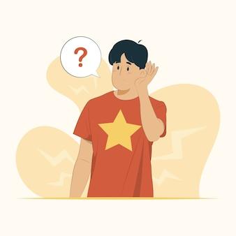 듣기 소문 가십 청각 장애 개념