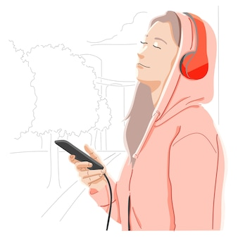 Listening to music. love of music concept
