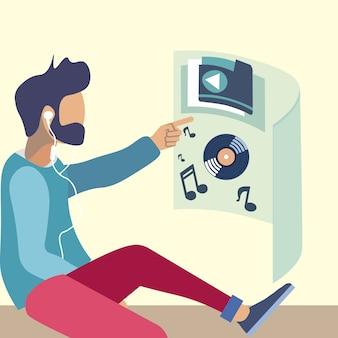Listening music in virtual reality illustration