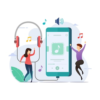 Listening music with music player application