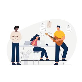 Слушать музыку и танцевать, чтобы перекусить в офисе во время перерыва. радостная иллюстрация.