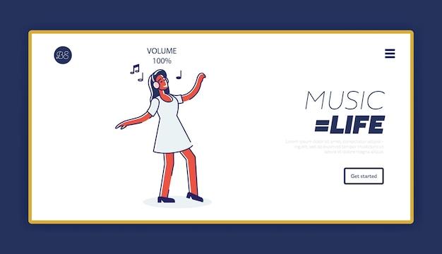 헤드폰에서 노래를 즐기는 만화 소녀와 템플릿 방문 페이지의 음악 개념 듣기