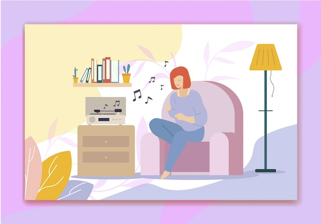 ターンテーブルで音楽を聴いて、趣味を歌う