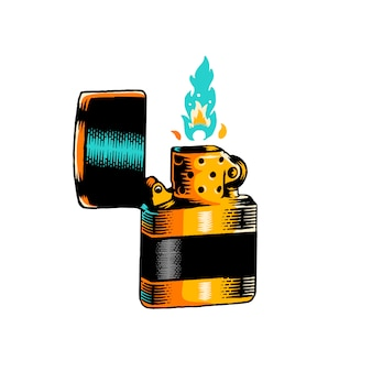 Lit lighter badge