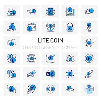 Lite coin crypto currency icons set