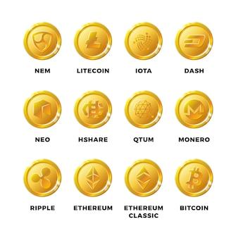 Криптовалюта золотые монеты с биткойнами, набор символов litecoin ethereum