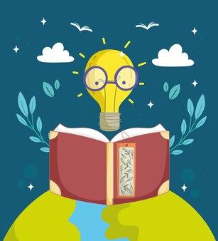 Лампочка грамотности с очками