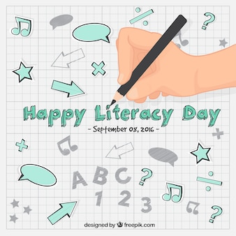Literacy day background of hand writing