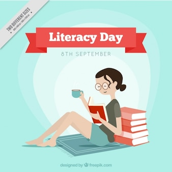 Literacy day background of smiling girl reading a book