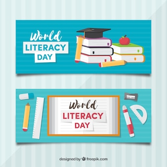 Literacy day banners with books