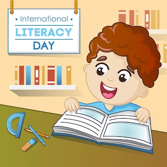 Literacy day concept, cartoon style