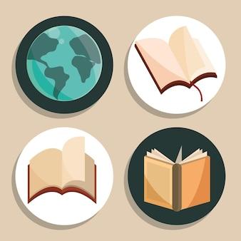 Literacy day icon set