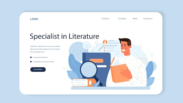 Literary critic web banner or landing page. professional journalist making review and ranking piece of art. specialist making an opinion on creative works. flat vector illustration