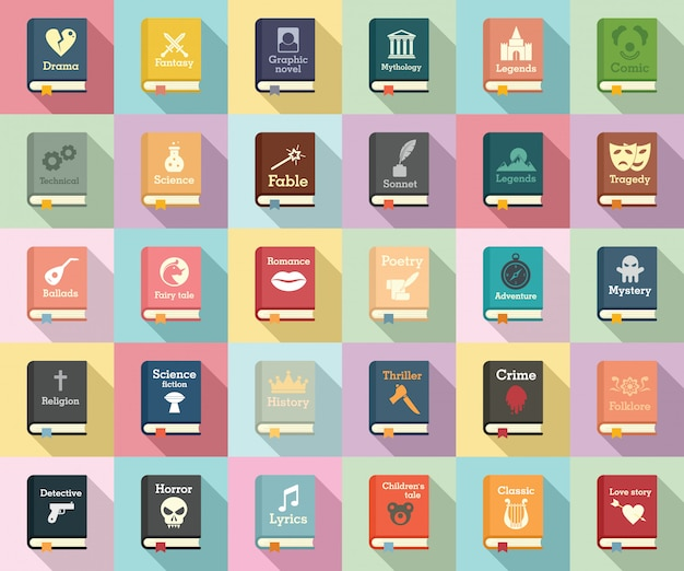 Literary genres icons set, flat style