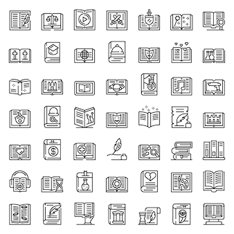 Literary genres icons set, outline style