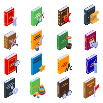 Literary genres icons set