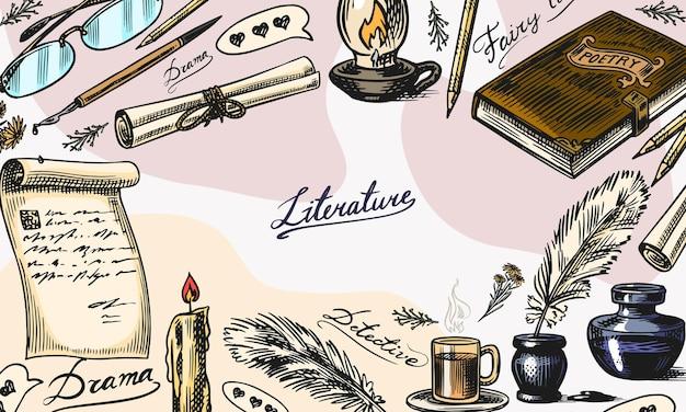 文学の背景インクとペンタイプライターコーヒーと本と教師の学校のエッセイのランプスタック