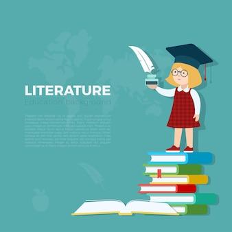 문학 수업 배경 그림입니다. 깃털 및 잉크 병 책 더미에 서있는 학생 소녀. 초등학교 교육 개념.