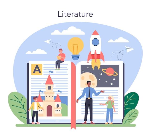 文学学校の教科イラスト
