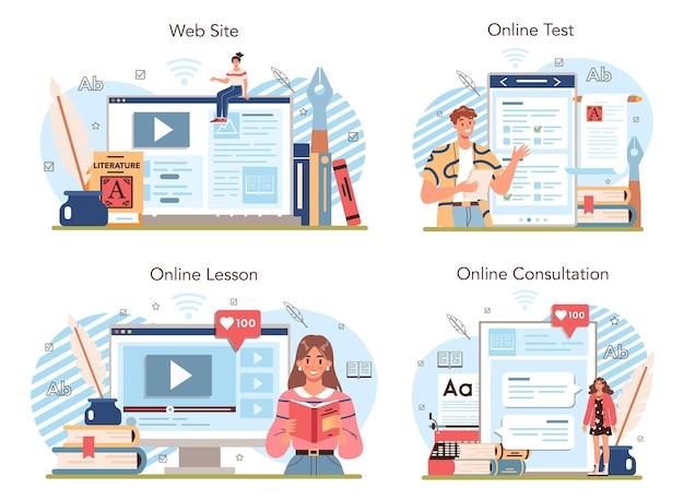 문학 학교 과목 온라인 서비스 또는 플랫폼 세트. 벡터 일러스트 레이 션