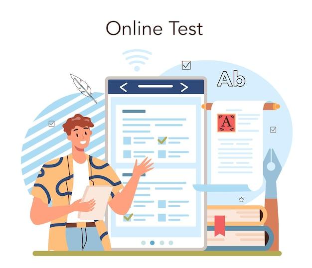 문학 학교 과목 온라인 서비스 또는 플랫폼. 고대 작가와 현대 소설을 공부합니다. 문학 교육 과정. 온라인 테스트. 벡터 일러스트 레이 션
