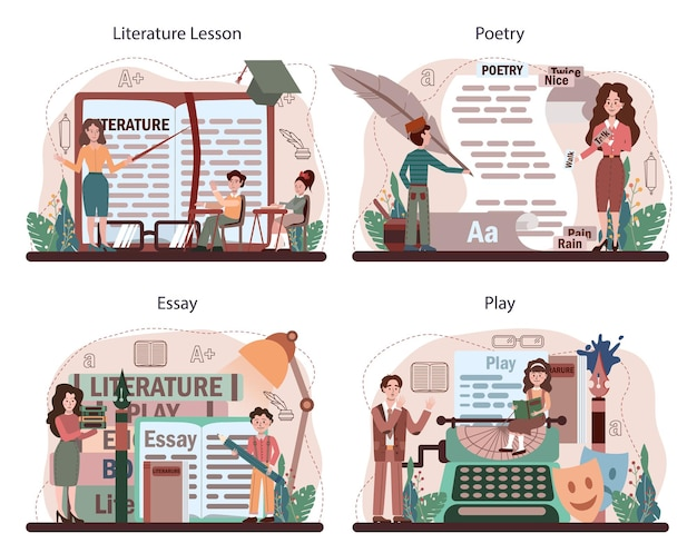문학 학교 과목 집합입니다. 고대 작가와 현대 소설을 공부합니다.