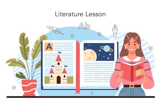 문학 학교 과목. 고대 작가와 현대 소설을 공부합니다. 산문과 시 작업. 문학 교육 과정. 교육 및 지식의 아이디어입니다. 벡터 일러스트 레이 션
