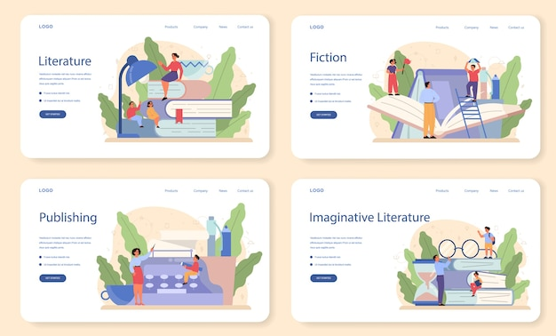Literature school subject web banner or landing page set. webinar , course and lesson. idea of education and knowledge. study ancient writer and modern novel.
