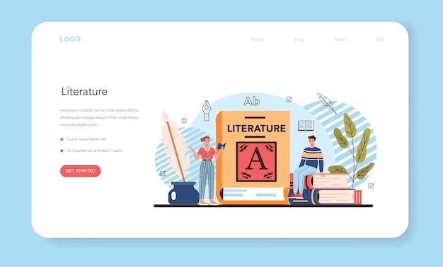 Веб-баннер или целевая страница литературного школьного предмета. изучите древнего писателя
