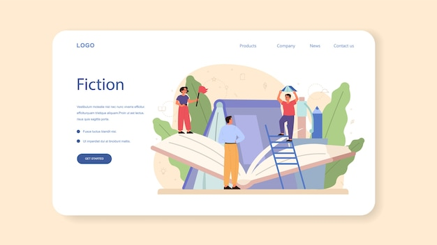 文学学校の主題のwebバナーまたはランディングページ