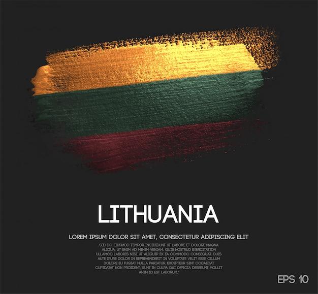 Lithuania flag made of glitter sparkle brush paint