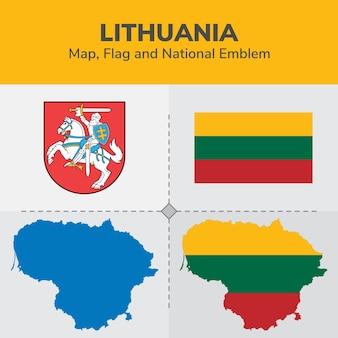 Lithuania map, flag and national emblem