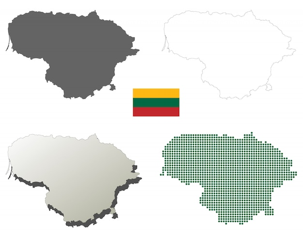 Lithuania vector outline map set