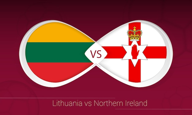 Lithuania vs northern ireland in football competition, group c. versus icon on football background.