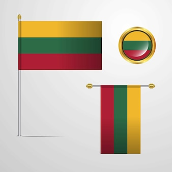 Lithuania waving flag design with badge vector