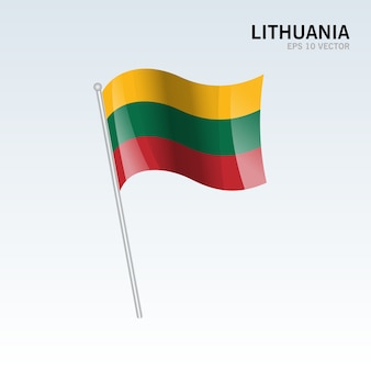 Lithuania waving flag isolated on gray background