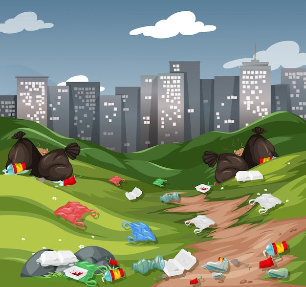 都市公園のゴミ