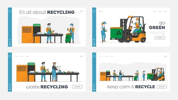 ごみ産業のランディングページテンプレートセットのキャラクターは、廃棄物リサイクルプラントで動作します